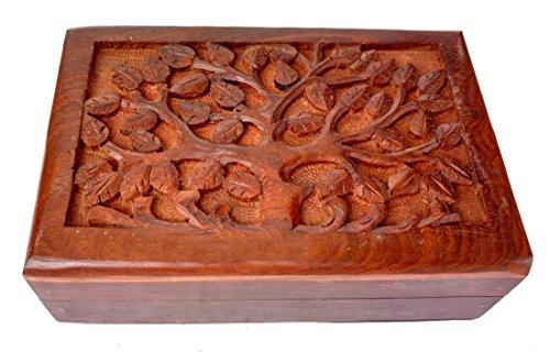 Rastogi Handicrafts Caja de joyería de madera con diseño de árbol de la vida, hermosa caja de regalo