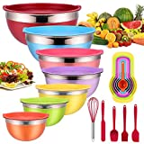 Mixing Bowls with Airtight Lids, 25 piece Stainless Steel Nesting Colorful Mixing Bowls Set with 7 Size - 7, 6, 5, 4, 3, 2, 1.5QT, Fit for Mixing, Baking, Serving