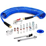 FYPower 1/4 inch x 25 ft Recoil Poly Air Hose Kit, 20 Pieces Air Compressor Accessories Set, 1/4' NPT Quick Connect Air Fittings, Blow Gun, Chuck, Safety and Tapered Nozzles, Couplings
