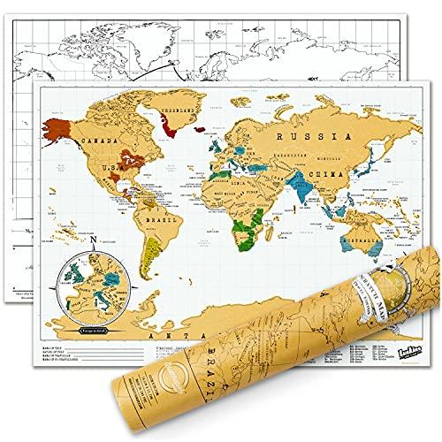 Luckies of London Carte à gratter de voyage – Affiche de carte du monde...