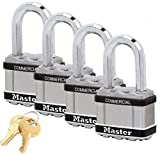 Master Lock Magnum Padlocks - 2' W x 1-1/2'L Shackle, Four (4) Keyed Alike Locks #M5NKALFSTS-4 w/BumpStop Technology