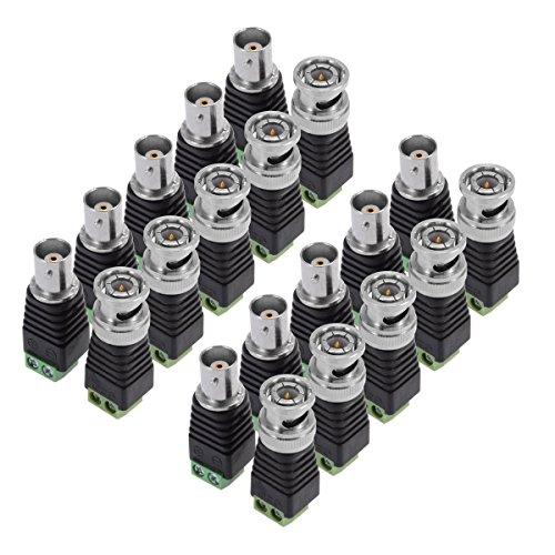 PChero Connettore BNC per Telecamere CCTV (10pcs x Maschio + 10pcs x Femmina)