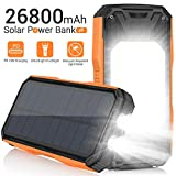 AMZGO Solar Charger 26800mAh, Portable Solar Power Bank USB C PD 18W Fast Charger with Ultra Bright 2 Flashlights and 60 LEDs Panel Light, External Battery Pack for Camping Outdoor