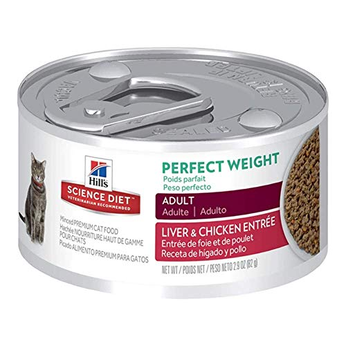 Hill's Science Diet Canned Wet Cat Food, Adult, Perfect Weight for Weight Management, Liver & Chicken Recipe, 2.9 oz Cans, 24 Pack