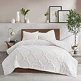 MISC White Chenille Comforter King/Cal King Set Tufted Bedding Geometric Quatrefoil Chenile Cotton Farmhouse Pretty Shabby Chic Country Charm, 3 Piece