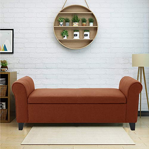 Aart Store Brown Fabric Wooden Bench Sofa for Living Room