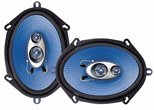 """5"""" x 7"""" Car Sound Speaker (Pair) - Upgraded Blue Poly Injection Cone 3-Way 300 Watts w/ Non-fatiguing Butyl Rubber Surround 80 - 20Khz Frequency Response 4 Ohm & 1' ASV Voice Coil - Pyle PL573BL"""