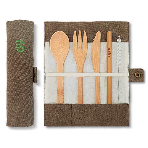 Bambaw Set Couverts en Bambou | Couverts en Bois | Kit Couverts écologique...