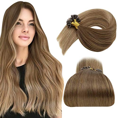 """LaaVoo U Tip Hair Extensions Balayage #6 Medium Brown to #8 Light Brown and #14 Darkest Blonde U Tip Extensions Human Hair Prebonded Utips Keratin Remy Extensions Brown Hot Fusion 16"""" 50g/50s"""