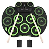 YISSVIC Electronic Drum Set Electric Drum Set 9 Drum Pads Rechargeable Battery Roll Up Drum Portable with Headphone Jack Built-in Speaker for Kids or Beginner