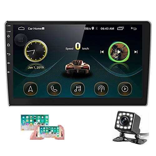 Hikity 2021 Nouveau Android Autoradio 2 Din Stéréo de Voiture avec GPS Bluetooth 10.1 Pouces 1080P Écran Tactile Lecteur Multimédia avec FM WiFi USB Lien Miroir + Caméra de Recul