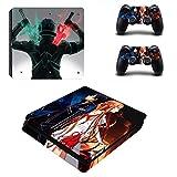 FENGLING Sword Art Online Sao Kirito Ps4 Slim Skin Sticker Calcomanía para Playstation 4 Console y 2 Controller Skin Ps4 Slim Skin Vinyl