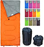 Lightweight Orange Sleeping Bag by RevalCamp. Indoor & Outdoor use. Great for Kids, Youth & Adults. Ultralight and Compact Bags are Perfect for Hiking, Backpacking, Camping & Travel.
