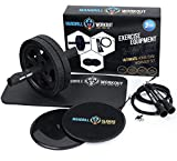 mandrill Ab Roller, Core Sliders, and Jump Rope Exercise Bundle, Body, Legs and Arms Fitness to Build Strength, Tone Muscle, Shred Abdominals, Home Gym Training Equipment
