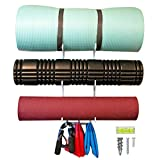 T/F Wall Mount Yoga Mat Storage with Hooks | Exercise Equipment Rack for Foam Roller Yoga Band Workout Accessories - Home Gym Decor Metal Hanging Organizer | Tranquil Fox (White)