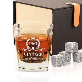 60th Birthday Gifts for Men, Vintage 1961 Whiskey Glass and Stones Funny 60 Birthday Gift for Dad Husband Brother, 60th Anniversary Present Ideas for Him, 60 Year Old Bday Decorations 12OZ