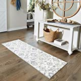 Maples Rugs Blooming Damask Non Slip Runner Rug For Hallway Entry Way Floor Carpet [Made in USA], 2 x 6, Grey/Blue