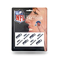 2.5 x 4-inches Set Includes 8 Small Tattoos Decorated Bold And Vibrant Team Colored Graphics Features 3M Hypoallergenic Tape No Water Needed, Easy Application And Removal