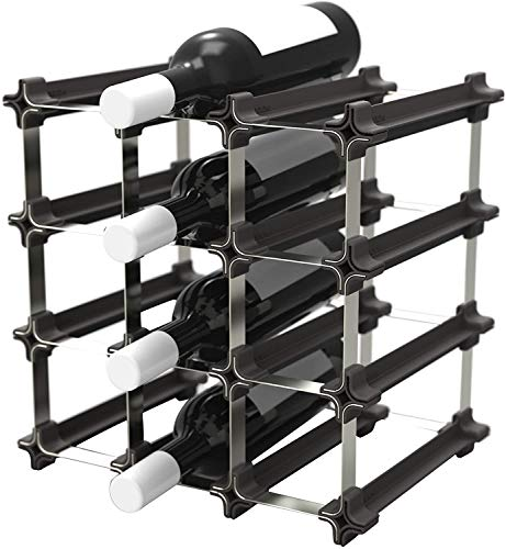 NOOK Portabottiglie di Vino Piccolo Kit 9 - Scaffale Portabottiglie con Sistema Modulare - Pratica Cantinetta Portabottiglie, argento, acciaio inox