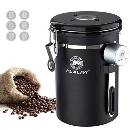 Flalivi Kaffeedose, luftdichter Edelstahl-Kaffee-Vorratsbehälter