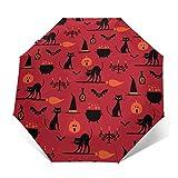 Paraguas plegable compacto y portátil de viaje con revestimiento de pegamento negro anti UV – Patrón de iconos de Halloween en naranja paraguas de golf impermeable Sombrilla