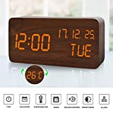 MUMUWIND Wooden Alarm Clock with 3 Levels Adjustable Brightness Voice Control Small Digital Desk Alarm Clock with Day/Date/Temperature USB/Battery Powered for Home(Brown/Orange)
