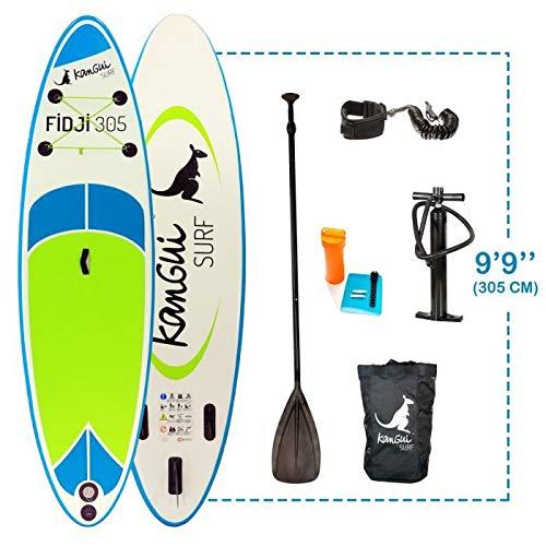 Kangui - Stand up Paddle 305cm Sup Gonflable + pagaie + Sac à Dos + Pompe Haute Pression + Leash + kit de réparation- Fidji