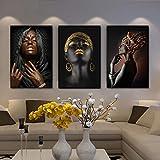 Lienzo Pinturas de arte de pared Mujer negra Collar de oro y cartel de joyería...