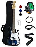 Crescent Electric Bass Guitar Starter Kit - Transparent Blue Color (Includes Crescent Digital E-Tuner)