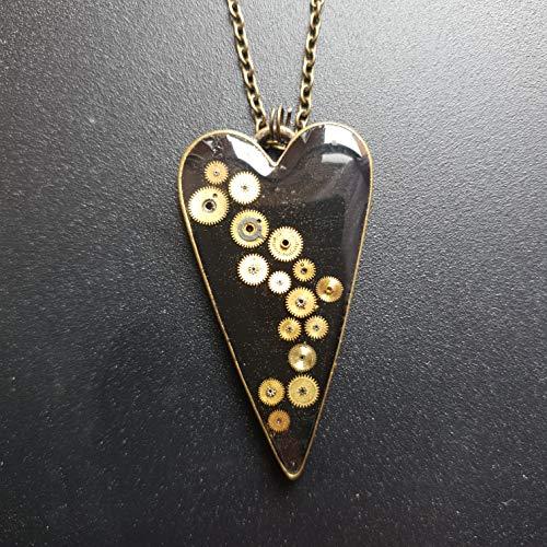 Heart steampunk industrial necklace silver bronze watch mechanism