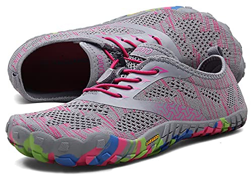SAGUARO Mujer Minimalistas Zapatillas de Deporte Trail Running Calzado Caminar Cómodas Senderismo Ciclismo Ligeras Deportivas Andar Trekking Montaña Agua Exterior Interior(034 Rosa, 39 EU)