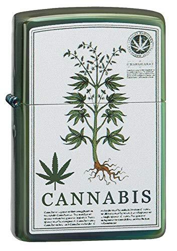 Zippo High Polish Green Cannabis Design Pocket Lighter