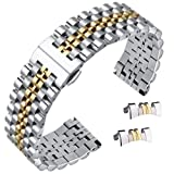High-end universal metal watch strap in two tone silver and gold fits most wrist sizes including removable links for length adjustments. It comes with both straight end and curved end for a better compatibility with your watch. Length:194mm,height:3....