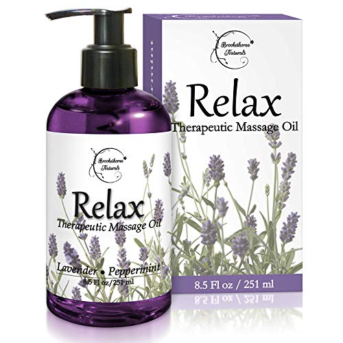 Relax Therapeutic Body Massage Oil - with Best Essential Oils for Sore Muscles & Stiffness – Lavender, Peppermint & Marjoram - All Natural - with Sweet Almond, Grapeseed & Jojoba Oil 8.5oz