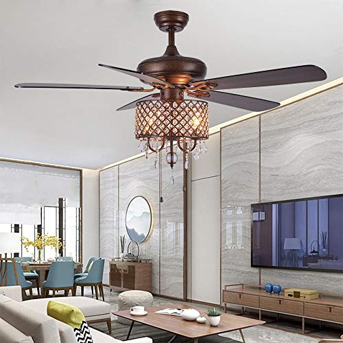 Rustic Ceiling Fan with Crystal Light Home Indoor Quiet Fan...