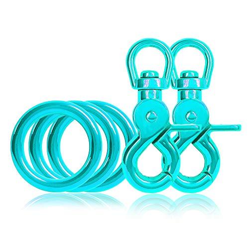 Ganzoo 3 x O - Ring aus Stahl und 2 x Scheren-Karabiner Haken mit Dreh-Gelenk/Dreh-Kopf im Set, DIY Hunde-Leine/Hunde-Halsband, nichtrostend, Ideal mit Paracord 550, Farbe: türkis