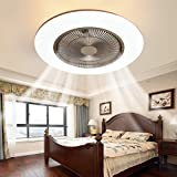 IYUNXI Enclosed Ceiling Fan with Lights,22 Inch Low Profile Ceiling Fan with remote,Invisible Blades Flush Mount Ceiling Fans for Kids Bedroom,Round 3-Color Dimming LED Light,3-Gear Wind Smart Timing