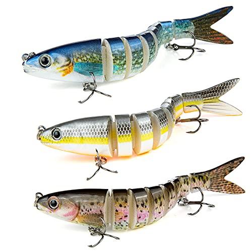 Weinsamkeit Esca da Pesca Bionica, 3 Pezzi 3D Esche Artificiali Spinning Mare Esca Finta per Diversi Tipi Pesce, 13.5cm Fishing Lure Bait Esca Pesca per Luccio