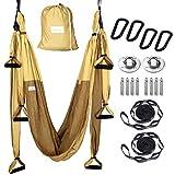 HELIOZ Columpio de Yoga, Kit de Hamaca Yoga Aéreo, Mosquetones de Bordes Lisos, Aliviar el Dolor de Espalda para Hogar, Gimnasio, al Aire Libre