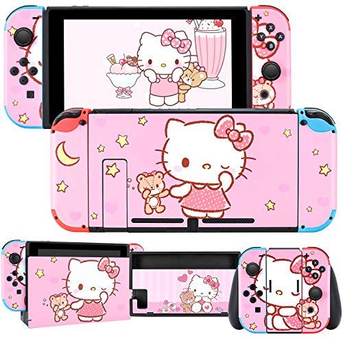 DLseego Switch Skin Sticker Pretty Pattern Full Wrap Skin Schutzfolie Sticker Kompatibel mit Nintendo Switch Pink Cat