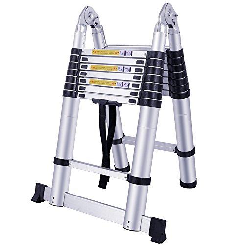 HENGMEI 5M Alu Teleskopleiter Klappleiter Stehleiter Mehrzweckleiter Leiter Anlegeleiter Aluleiter (5M, Klappleiter)