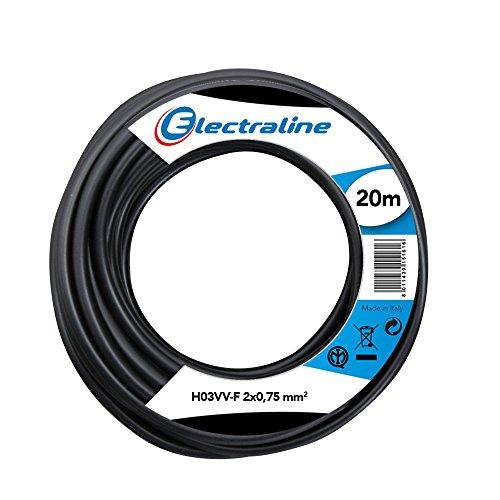 Electraline 11165 Cavo per prolunghe ed elettrodomestici H03VV-F Sezione 2x0,75 mm² - 20 mt - Nero