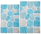 Pebble Bath Rugs Set of 2 21x32/17x34 Turquoise Multi,Bath Room Rugs Set,Bathroom Rugs, Soft Absorbent Machine Washable Bath Mat Rugs,Bath Rug 100% Cotton