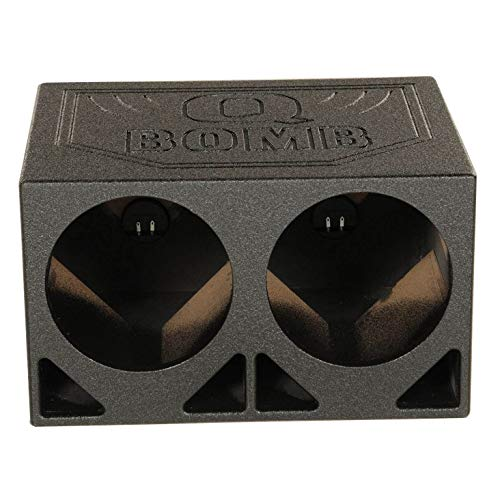 Q Power QBOMB10TB Dual 10' Turbo Ported Subwoofer Enclosure with Armor Coated Finish and 3/4' MDF