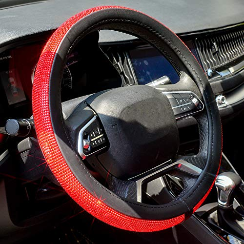 Valleycomfy Diamond Crystal Steering Wheel Cover for Women Girls- Bling Bling Rhinestones Steering Wheel Cover with Universal Fit 15 Inch(Red Diamond)