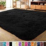 LOCHAS Ultra Soft Indoor Modern Area Rugs Fluffy Living Room Carpets for Children Bedroom Home Decor Nursery Rug 2x3 Feet, Black