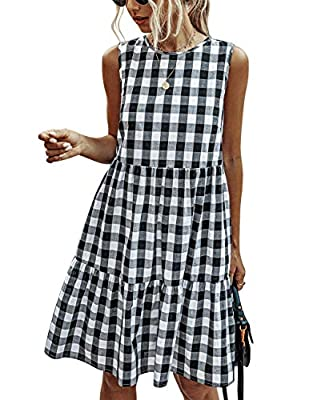 *Design:This Ruffle Summer Dress Is Made Of 65%COTTON+35%POLYESTER.Lightweight And Comfy To Dress In Summer. Sleeveless Short Dress,Plaid Print Dress,Round Neck,Pleated,Two Side Pockets,Lined,Button Closure,Loose Fit,Above The Knee,Flared Dress,Flowy...