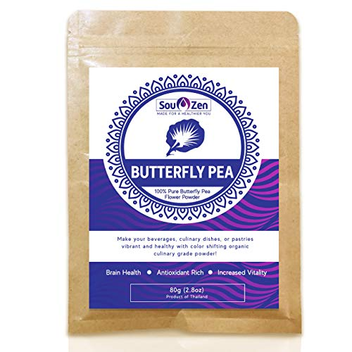 Sou Zen - 100% Blue Butterfly Pea Powder 2.8oz (80g) Culinary Grade | Premium Quality | Naturally Organic Superfood, Raw w/Antioxidants | Mix with Beverages, Smoothies and Baked Goods
