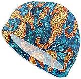 Bonnet de Bain, Swim Cap Blue Ocean Hippocampus Swimming Hat for Adult Swimming Pool...