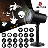Halloween Projector Rotating Lights, Chuya Led Projection Light 5 Slides Decoration Projector Lamp Motion Projector Spotlight,Waterproof Indoor Outdoor Landscape Replaceable Patterns for Halloween